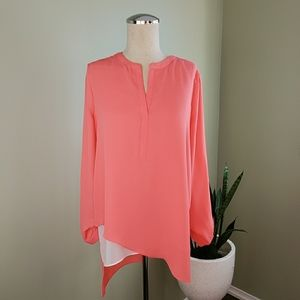 RW&Co Coral Long Sleeve Blouse Size Small